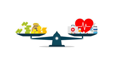 Money or health. Scale of balance between money, dollar and medicine, pill. Cost of health. Compare of price healthcare and healthy. Seesaw between wealth and healthy. Treatment or savings. Vector.