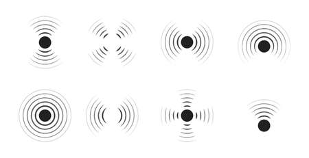 Wave sonar. Radar with signal. Icon of pulse. Concentric sound circle. High sonic frequency with vibration in air. Noise and energy from speaker. Symbol of radio, military protection and scan. Vector. Vettoriali