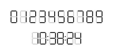 Digital time clock. Numbers for timer, calculator and watch display. Font of digit for counter. Black numbers isolated on white board. Type of digits for countdown. Web graphic for clock. Vector. Vettoriali