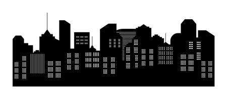 City silhouette. Skyline with building. Cityscape with apartment, skyscraper, house and architecture. Black urban landscape. Night scape of capital town with neighborhood. Graphic panorama. Vector. Vettoriali