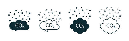 Co2 cloud. Icon of carbon pollution. Emission of gas in air. Emission exhaust, smog in environment. Reduce c02 from factory, car and plant. Symbol of greenhouse, smoke, chemistry and fumes. Vector.