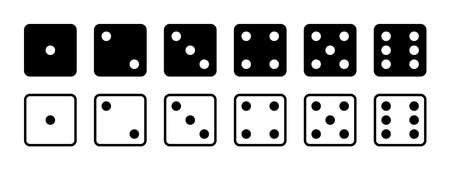 Dice. Game dice. Icon with side of cube from one to six number. Die roll in craps or poker. Set of black icon sided for gamble. Template isolated on white background. Dot on cube of casino. Vector.