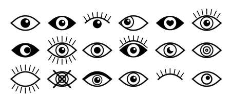Eye icon. Open and close eye. Eyeball with eyelash. Outline icon for vision of human. Graphic symbol of look and vision. Set of black logo for observe, optical and medicine. Shape for see. Vector.