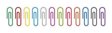 Clip paper for memo. Metal paperclip for office. Staple for attach of paper. Supplies for school. Color stationery isolated on white background. Set of holder or clamp. Design of equipment. Vector.