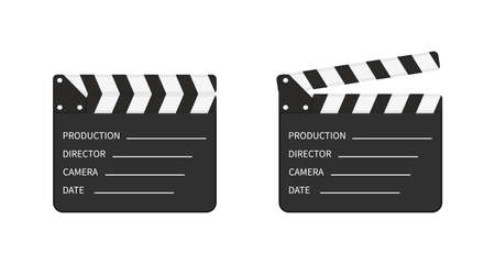 Movie clapper board. Slate of clapperboard. Director of film. take video with clapboard. Movie clapper isolated. Action for production of film. Art of hollywood on cinema. Equipment for video. Vector.