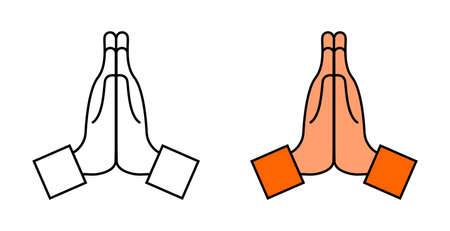 Hand with pray. Icon of namaste. Emoji for thank, sorry, please. Hand of prayer. Emoticon of hope in pray. Folded together hands for faith, church, honest. Emotion of begging. Cartoon symbol. Vector.