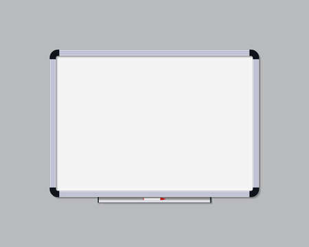 Whiteboard with marker. Board for office, school and class. Whiteboard with frame for presentation and meeting in classroom. White blank blackboard isolated for notice and drawing. Vector. Vettoriali