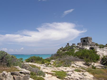 The ancient city of Tulum Stock Photo