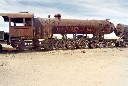 The train cemetery in Uyuni in Bolivia Stock Photo - 8036771