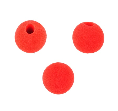 Fun clown red nose wear on isolate Stock Photo