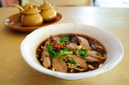 Noodle soup bowl  duck delicious Stock Photo