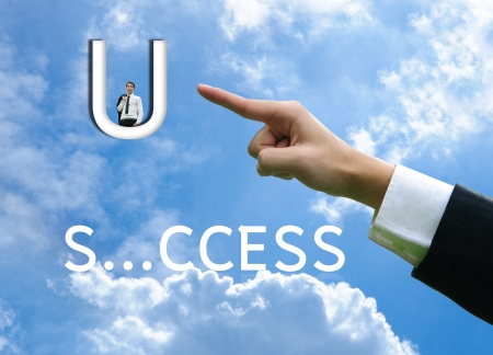 success word: Business man concept hand success word Stock Photo