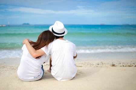 Couple lover holiday happy island sea beach photo