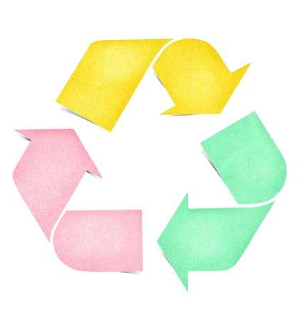 Recycle logo paper craft by cork board photo