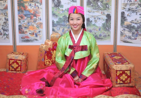 Woman asian girl hanbok dress korea