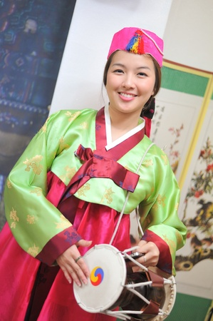 Woman asian drum hanbok dress korea