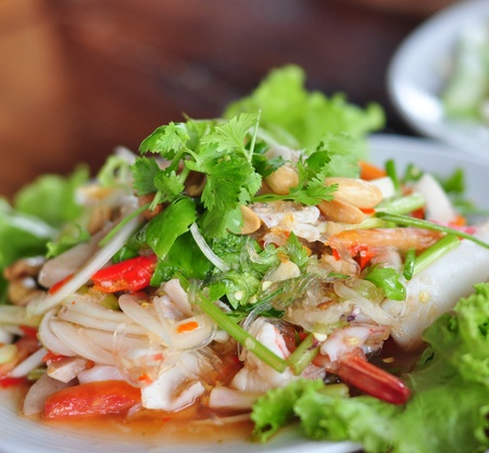 Thai food salad seafood shrim squid Stock Photo