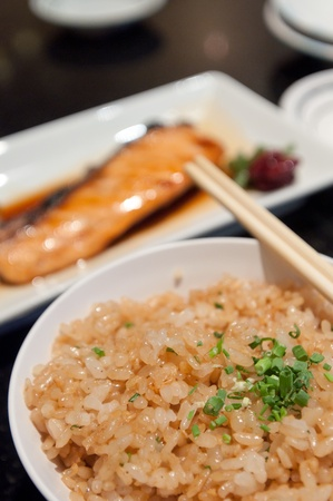 Garlic fried rice japanese food photo