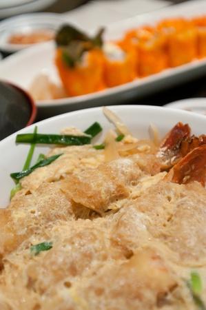 Rice shrimp tempura , Japanese food style photo