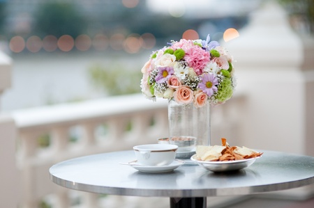 Beautiful pink flower with snacks in wedding event