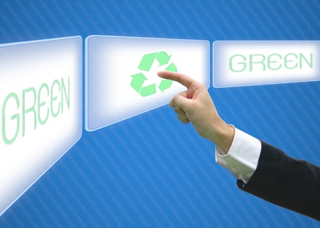 Business pointing screen logo recycle green eco Stock Photo - 13359021