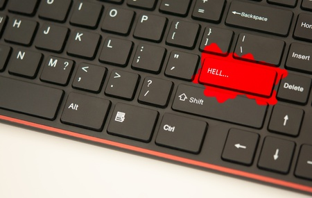 Hell button on keyboard concept photo