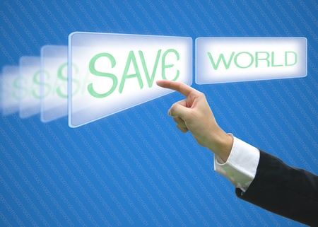 Business pointing screen save world photo