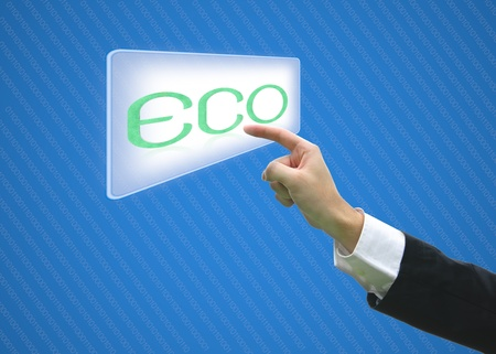 Business hand pointing screen eco photo