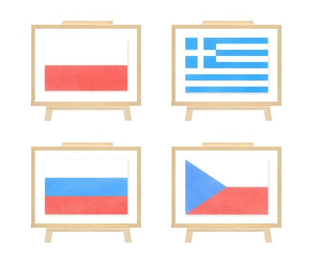 b ball: Football 2012 A group nations flag cork board on wihte isolate Stock Photo
