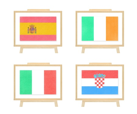 Football 2012 C group nations flag cork board on white isolate Stock Photo - 13500830