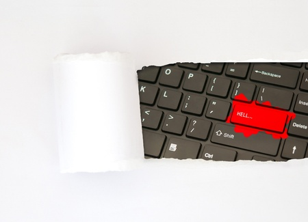 Red hell button on keyboard concept paper photo