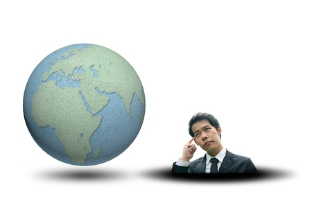 World map and earth globes by cork board with business man thinking on white isolate background photo