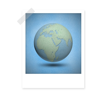 cork board: Earth globes by cork board instant film on white isolate background
