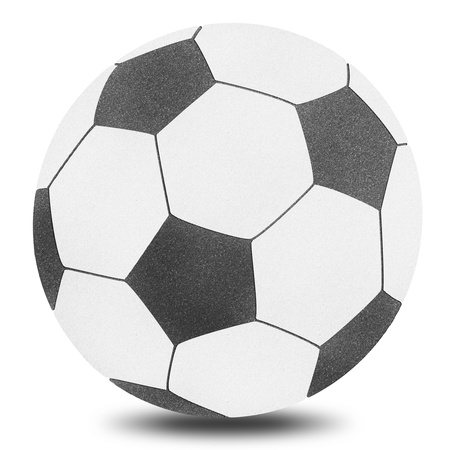 Football soccer ball sport by cork board on white isolate photo