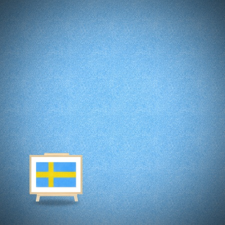 Flag sweden on blue cork background photo