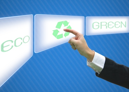 Business pointing screen logo recycle green eco photo