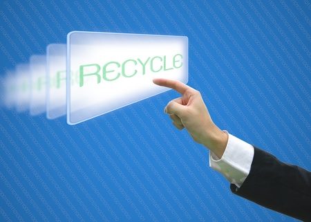 Business hand pointing screen recycle photo
