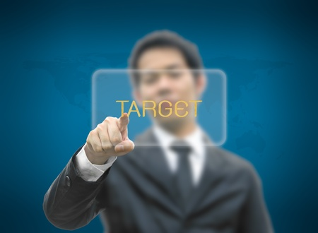 Business concept pointing target word photo