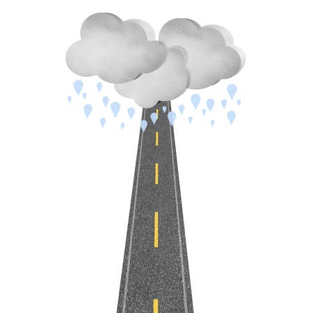 squall: Concept road rain cloud story on white isolate background Stock Photo