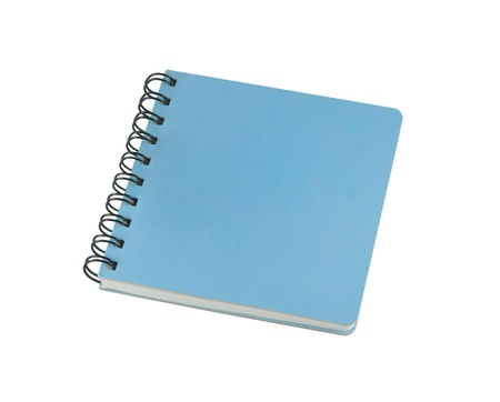 Blue book on white  isolated background photo