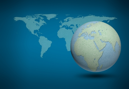 cork board: World map and earth globes by cork board on blue background Stock Photo