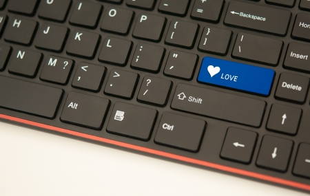 Love button on keyboard concept photo