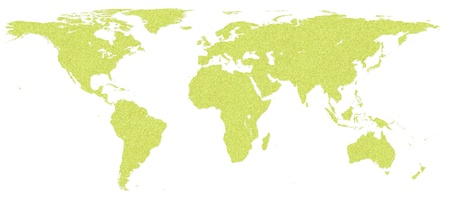 cork board: World map by cork board on white isolate background