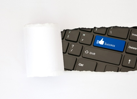 Concept white paper like and success button idea photo