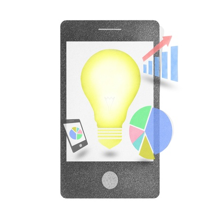 Mobile phone smartphone chart pie graph bulb concept craft by cork board on isolate photo