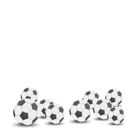 Football soccer ball craft by cork board on white isolate photo