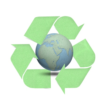 Green recycle logo with globes craft by cork board on white isolate
