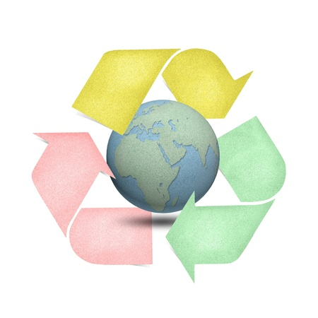 Color recycle logo with globes craft by cork board on white isolate photo