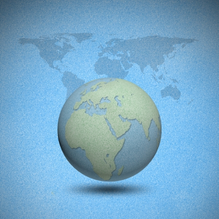 cork board: Earth globes by cork board with world map background