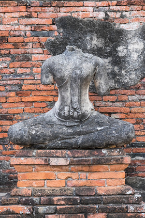 Ancient Buddha of chai watthanaram temple in ayutthaya, Thailand